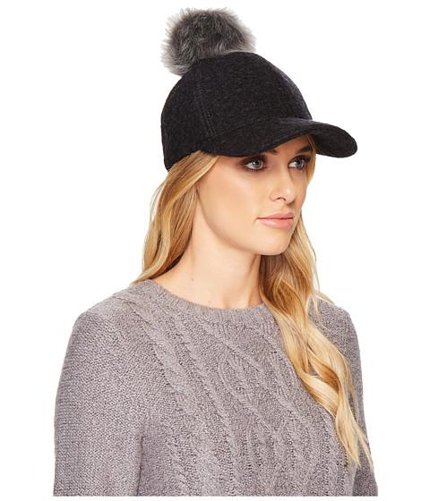 Accesorii Femei UGG Fabric Baseball Hat with Fur Pom Black Heather