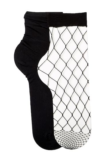 Accesorii Femei Free Press Open Fishnet Crew Socks - Pack of 2 BLACK
