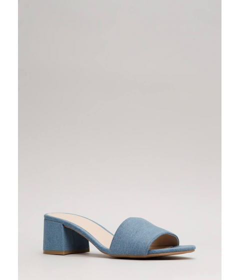 Incaltaminte Femei CheapChic Girl On The Go Denim Mule Heels Ltblue