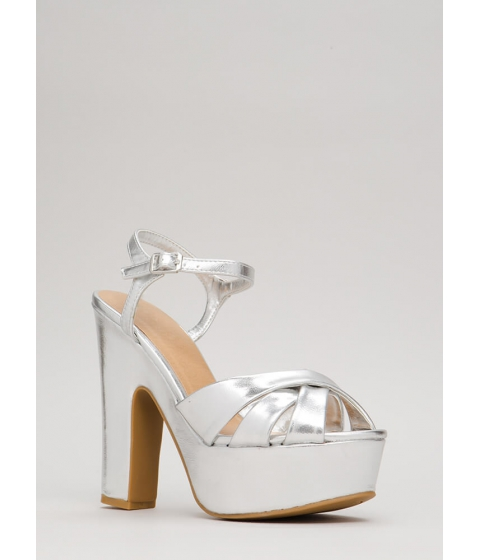 Incaltaminte Femei CheapChic Ready To Retro Metallic Platforms Silver