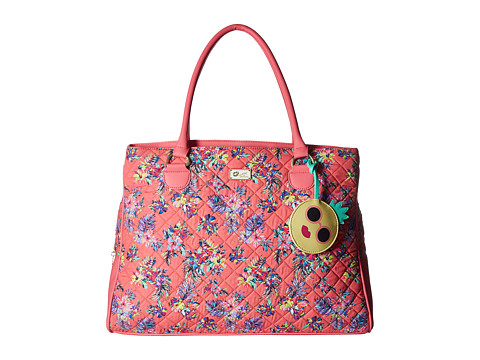 Genti Femei Luv Betsey by Betsey Johnson Reid Large Cotton Travel Satchel w Luggage Pass Through On The Back Pink Flower