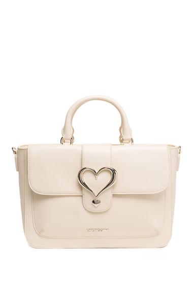Genti Femei LOVE Moschino Heart Accent Satchel IVORY