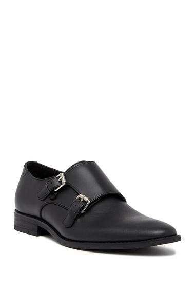 Incaltaminte Barbati Calvin Klein Robbie Brushed Saffiano Leather Double Monk Strap Loafer BLACK