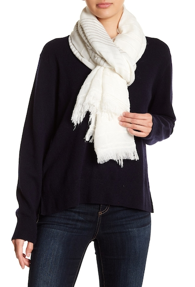 Accesorii Femei Melrose and Market Textural Stripe Scarf IVORY COMBO