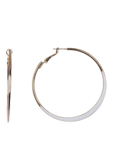 Bijuterii Femei 14th Union Enamel Edge 60mm Hoop Earrings WHITEGOLD