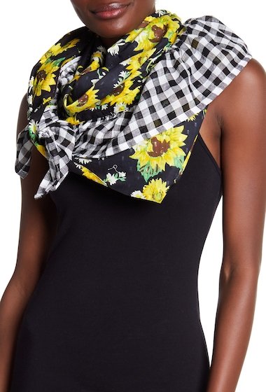 Accesorii Femei Betsey Johnson Floral Gingham Ruffle Scarf BLACK