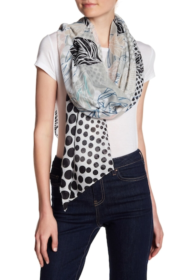Accesorii Femei 14th Union Mixed Dot Floral Oblong Scarf BLACK COMBO