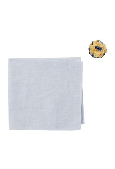 Accesorii Barbati Original Penguin Goven Solid Pocket Square Lapel Pin Set BLUE