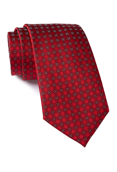 Accesorii Barbati Calvin Klein Red Hot Four Square Silk Tie RED