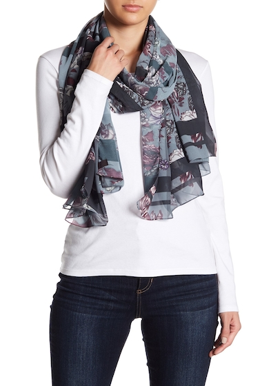 Accesorii Femei Free Press Edgy Floral Oblong Scarf GREY COMBO