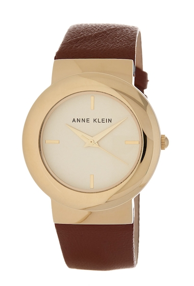 Ceasuri Femei AK Anne Klein Womens Round Leather Strap Watch 36mm BROWNWHITEGOLD