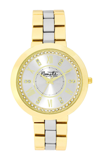 Ceasuri Femei NANETTE nanette lepore Womens Wind-Up Two-Tone Crystal Bracelet Watch 38mm TWO-TONE