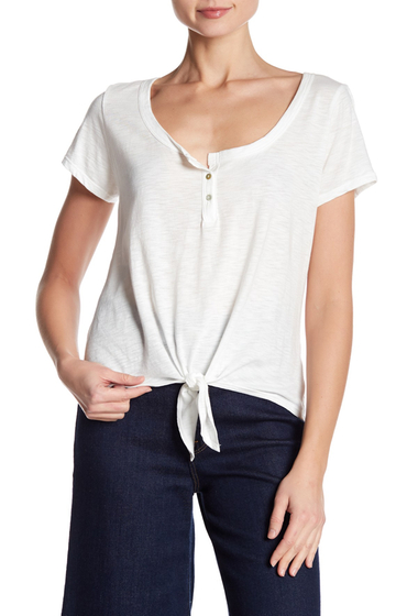 Imbracaminte Femei Abound Scoop Neck Henley Tie Tee WHITE