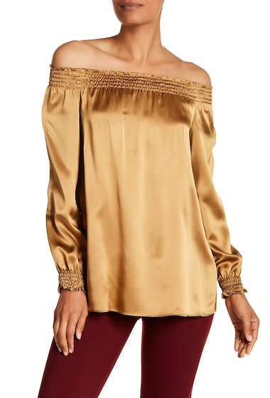 Imbracaminte Femei Lafayette 148 New York Raelyn Silk Off-the-Shoulder Shirred Blouse CARAMEL