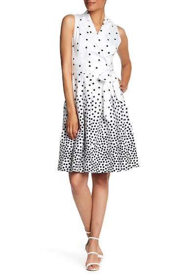 Imbracaminte Femei AK Anne Klein Notch Collar Wrap Dress OPTIC WHITE-BLK