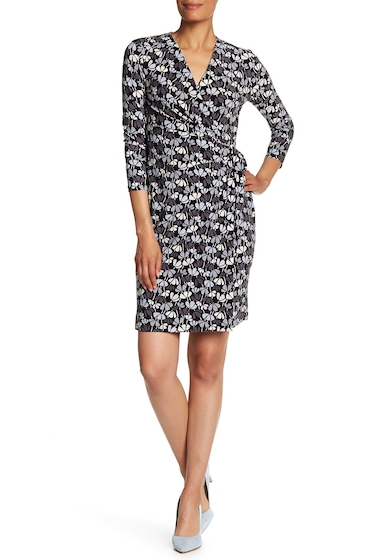 Imbracaminte Femei AK Anne Klein Classic Wrap Dress BLK-SUMMIT BLUE CMB