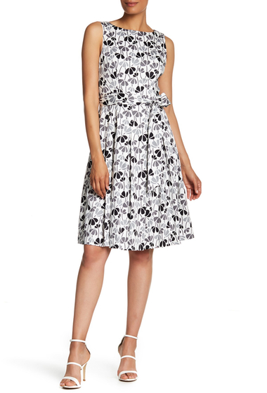 Imbracaminte Femei AK Anne Klein Cotton Fit Flare Dress WHITE-DEGAS GREY CMB