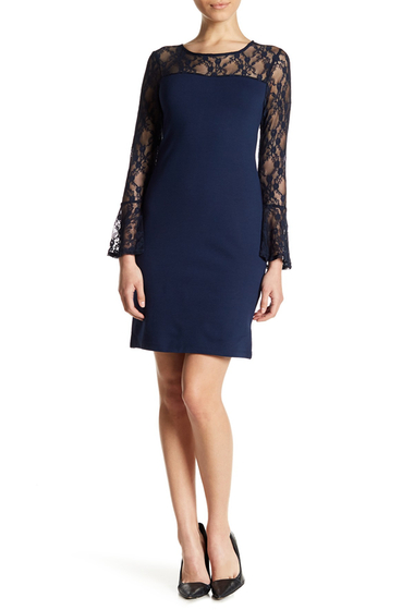 Imbracaminte Femei Bobeau Lace Detail Bell Sleeve Dress Petite NAVY