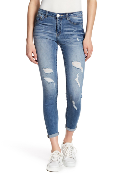 Imbracaminte Femei Jolt Distressed Rolled Skinny Jeans LB LIGHT B