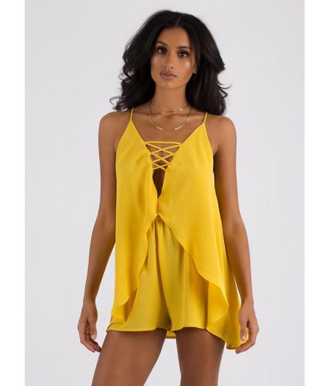 Imbracaminte Femei CheapChic Float Away Flowy Open-back Romper Yellow