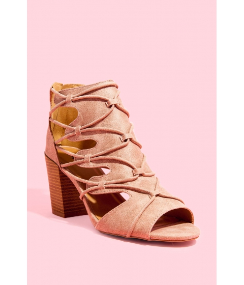 Incaltaminte Femei CheapChic Laced All Around Block Heel Blush