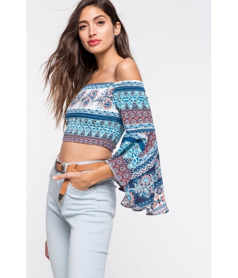 Imbracaminte Femei CheapChic Border Smocked Top Blue Print