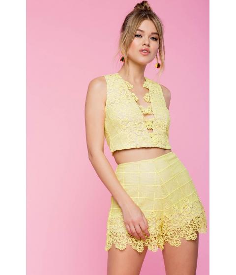 Imbracaminte Femei CheapChic Two Piece Sunshine Crochet Short Set Yellow