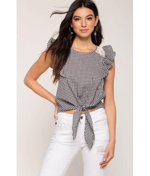 Imbracaminte Femei CheapChic Gingham Crochet Tee BlackWhite Pattern