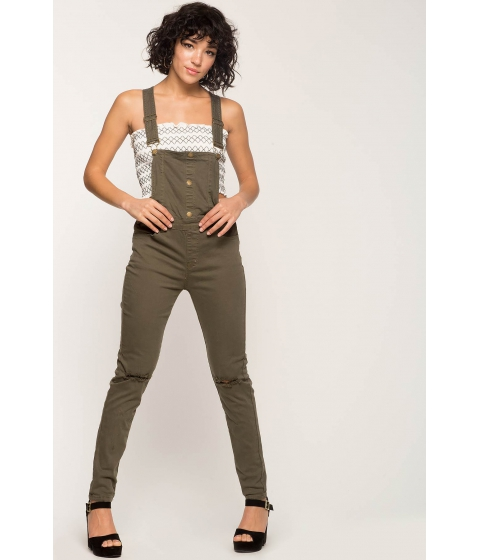 Imbracaminte Femei CheapChic Exposure Skinny Overalls Olive