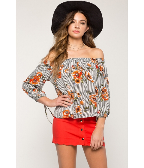 Imbracaminte Femei CheapChic Novelty Floral Off Shoulder Top Red Print