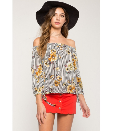 Imbracaminte Femei CheapChic Novelty Floral Off Shoulder Top Yellow Print