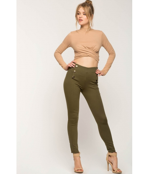 Imbracaminte Femei CheapChic Resort Button Ponte Pants Olive