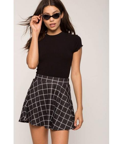 Imbracaminte Femei CheapChic Windowpane Skater Skirt BlackWhite Pattern