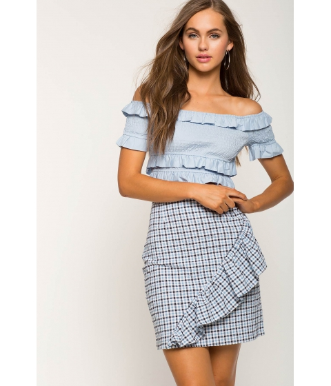 Imbracaminte Femei CheapChic Sky Gingham Ruffle Mini Skirt Blue Pattern