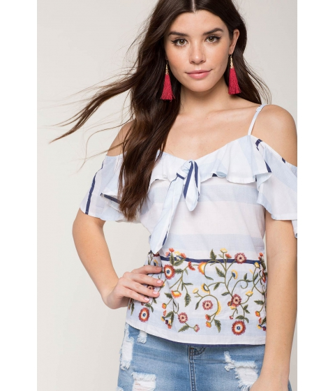 Imbracaminte Femei CheapChic Embroidered Stripe Top Blue Pattern