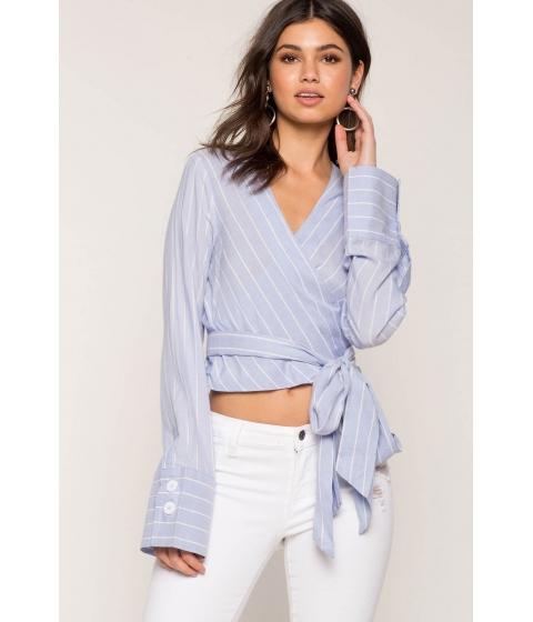 Imbracaminte Femei CheapChic Tie Waist Stripe Top Blue Pattern