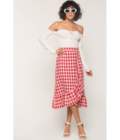 Imbracaminte Femei CheapChic Gingham Pearl Ruffle Skirt White Pattern