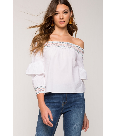 Imbracaminte Femei CheapChic Courtney Smocking Off Shoulder White