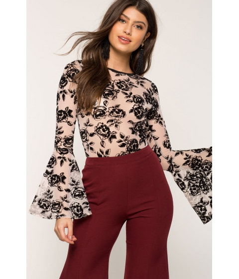Imbracaminte Femei CheapChic Floral Flocked Bodysuit Brown Print