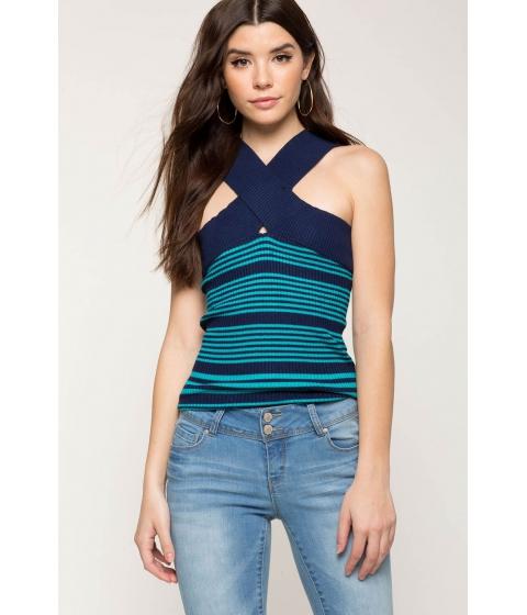 Imbracaminte Femei CheapChic Halter Contrast Ribbed Tee Blue Pattern