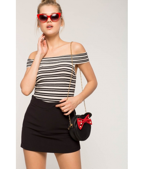 Imbracaminte Femei CheapChic Off Shoulder Contrast Ribbed Tee BlackWhite Pattern