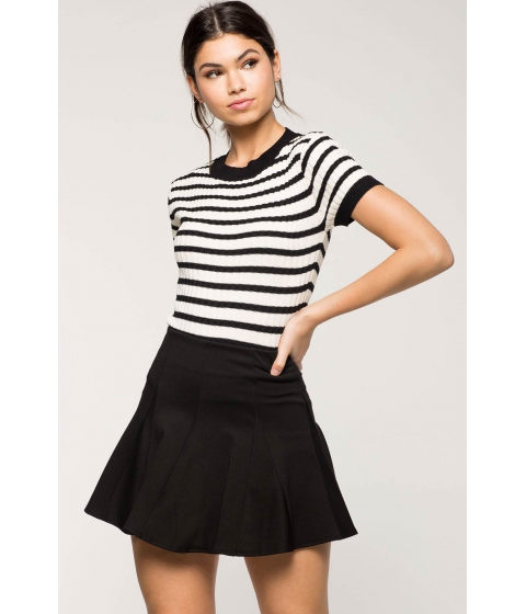 Imbracaminte Femei CheapChic Striped Contrast Ribbed Tee BlackWhite Pattern