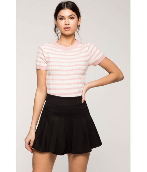 Imbracaminte Femei CheapChic Striped Contrast Ribbed Tee FuchsiaPink Pattern