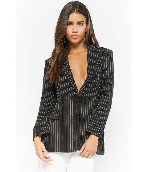 Imbracaminte Femei Forever21 Single-Breasted Pinstriped Blazer BLACK