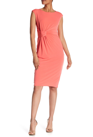 Imbracaminte Femei London Times Solid Side Ruched Dress CORAL