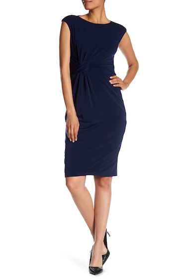 Imbracaminte Femei London Times Solid Side Ruched Dress NAVY