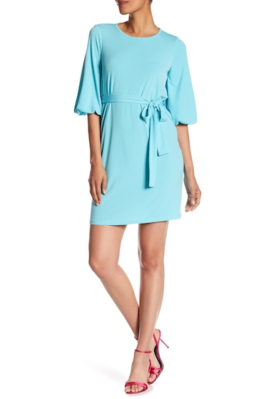 Imbracaminte Femei London Times Solid Balloon Sleeve Tie Front Dress AQUA