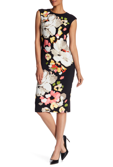 Imbracaminte Femei London Times Abstract Floral Sheath Dress BLK MELON