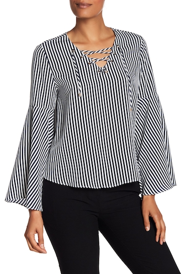 Imbracaminte Femei Philosophy Apparel Striped Bell Sleeve Blouse NAVYWHITE STRIPE