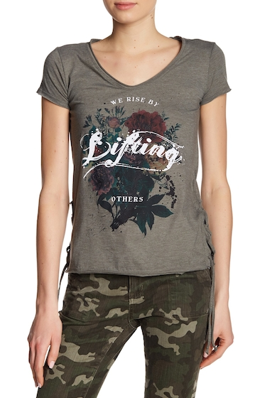 Imbracaminte Femei William Rast Carson Lace-Up Graphic Print Tee WE RISE - RIFLE